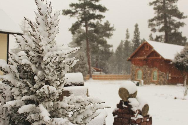 chata, zima, sníh