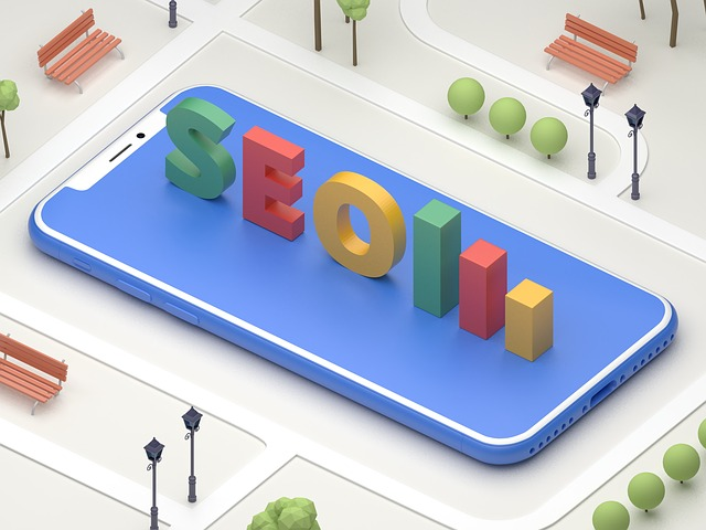 SEO ve 3D provedení v parku na modré ploše displeje telefonu